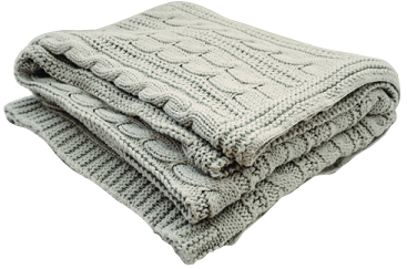 Cable Knit Throw by Cotton Collection
