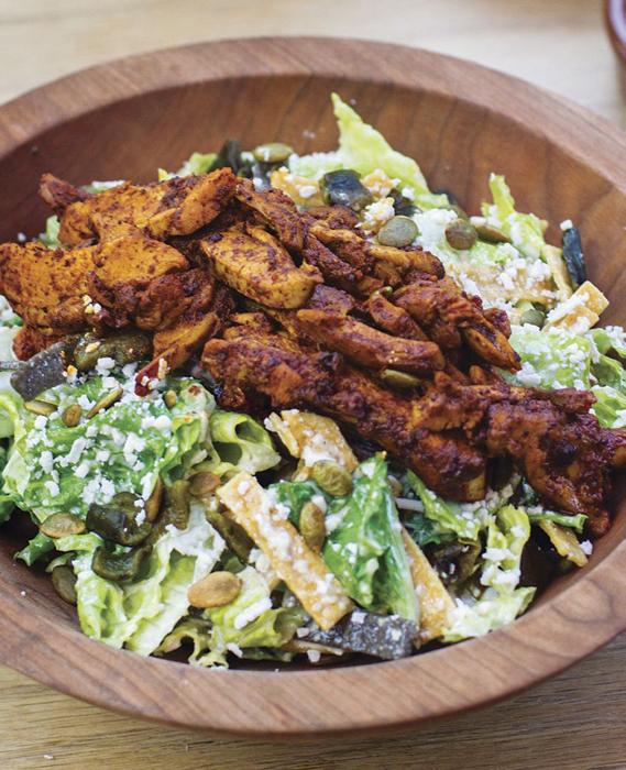 Tijuana Caesar salad with achiote chicken