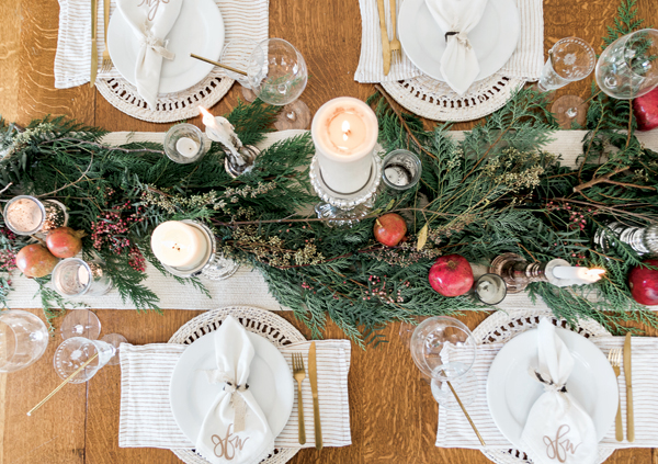 Dining table with holiday decor
