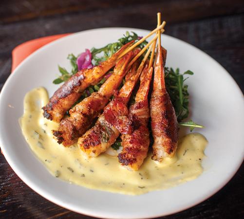 Pancetta prawns