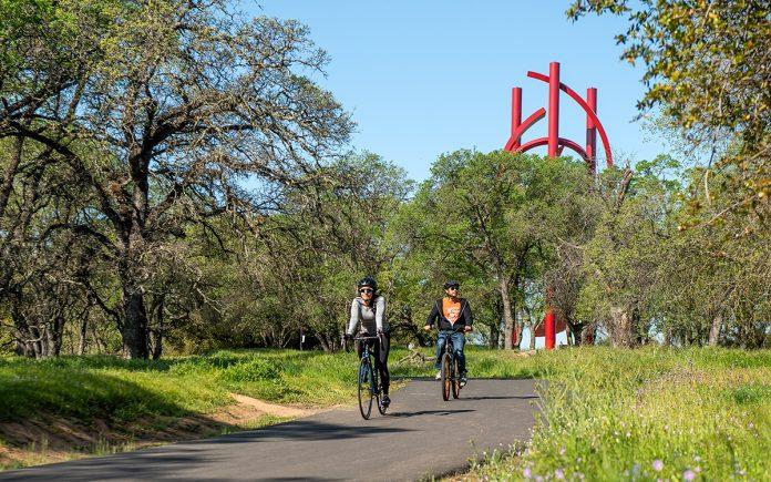 bike ride in Sculpture Park in Roseville