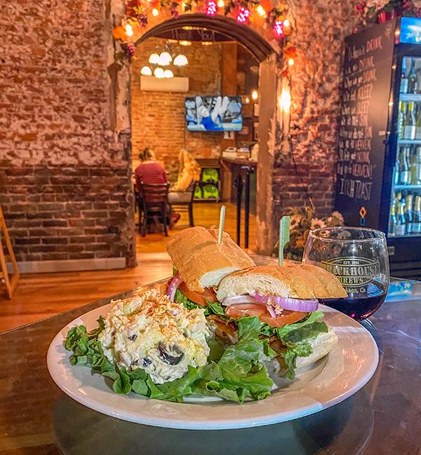 burger and fries at brickhouse brews in jackson