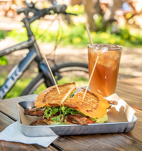 Tree House Cafe sandwich along the gravel bike ride trail