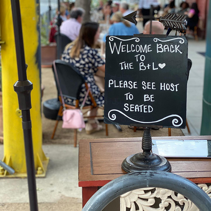 welcome back sign at mulvaney's b&l