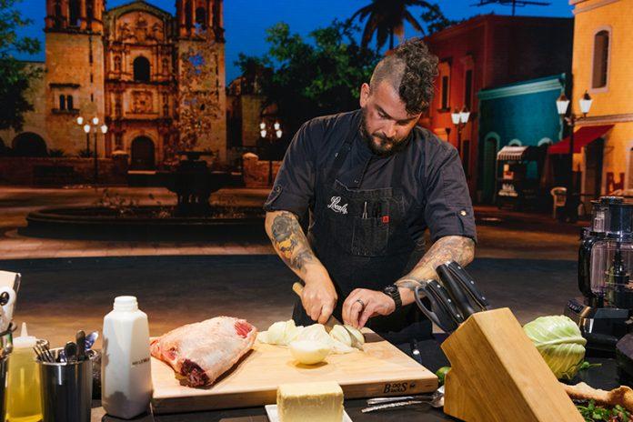 Chris Barnum-Dann cooking on The Globe