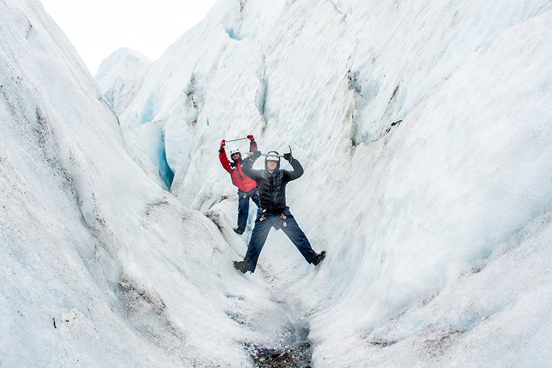 Sasha and Jason at Falljökull glacier