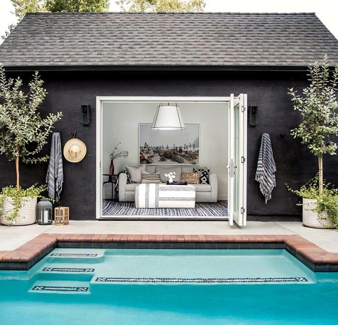 french tudor pool house