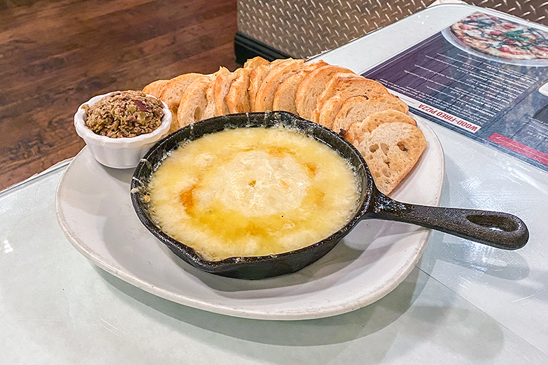 Baked Emberz—melted Swiss and Gruyere cheeses