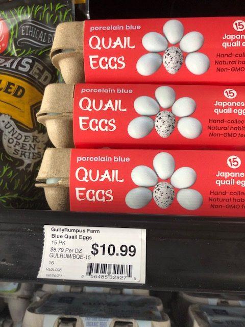 quail eggs on shelf